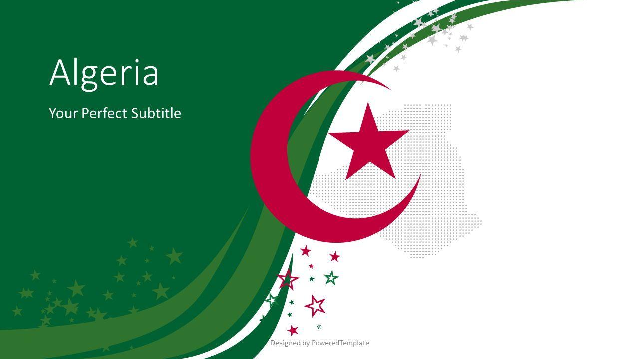 Algeria Festive Flag Cover Slide, 07897, Presentation Templates — PoweredTemplate.com