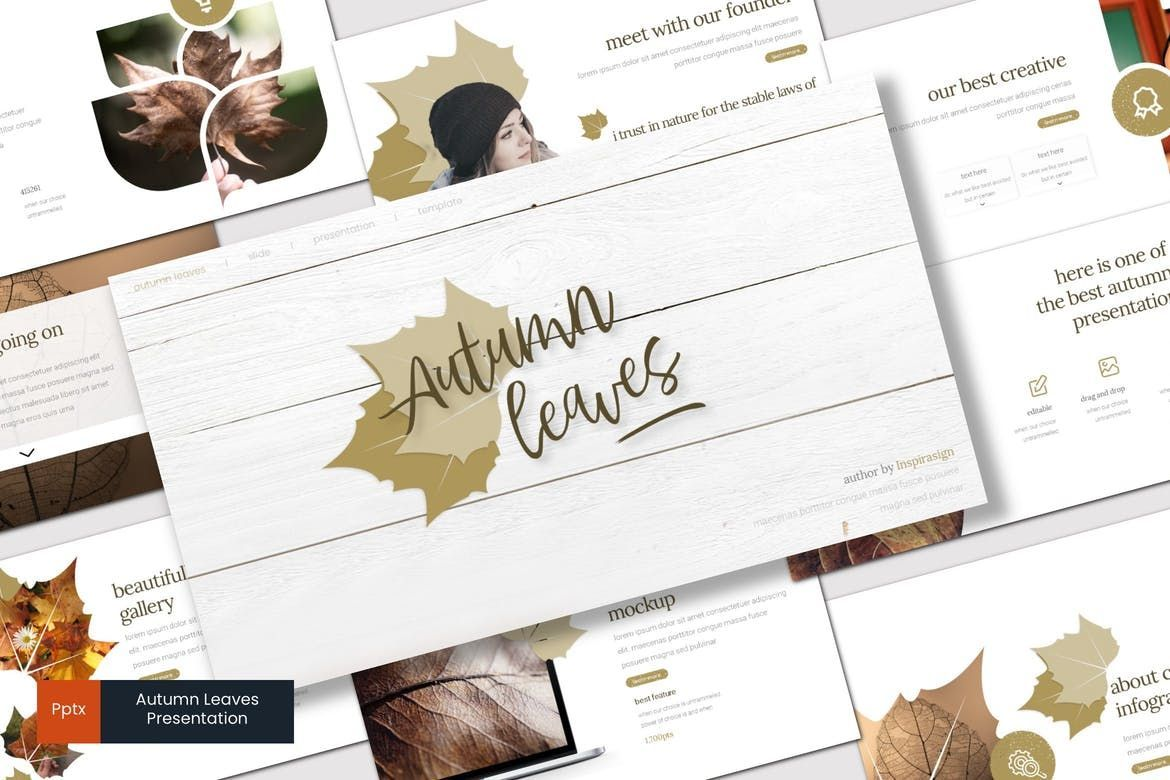 Autumn Leaves - PowerPoint Template, 07908, Presentation Templates — PoweredTemplate.com