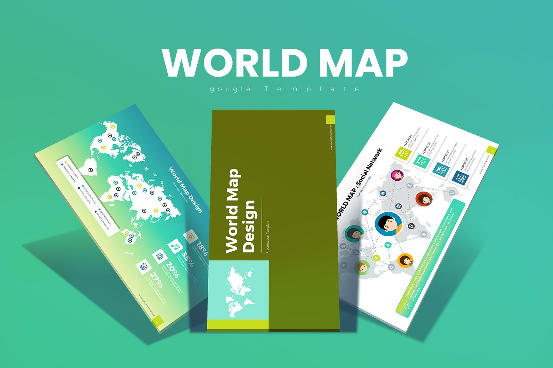 World Map Google Slides, 07924, Business Models — PoweredTemplate.com
