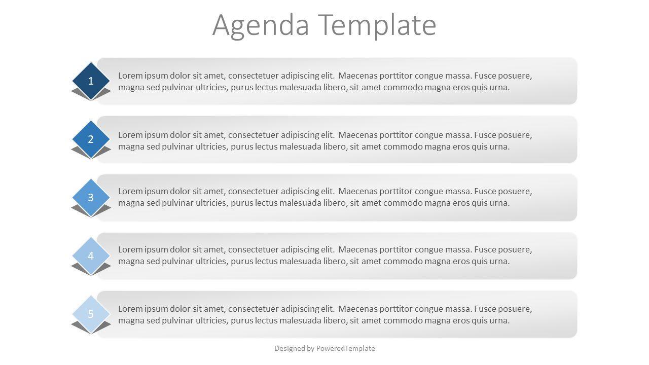 5 Items Agenda Slide, 07926, Text Boxes — PoweredTemplate.com