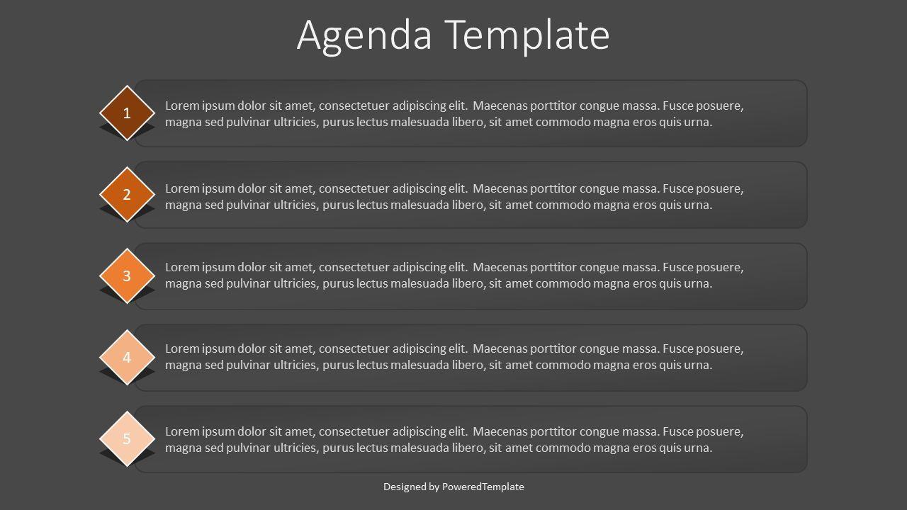 5 Items Agenda Slide, Slide 2, 07926, Text Boxes — PoweredTemplate.com