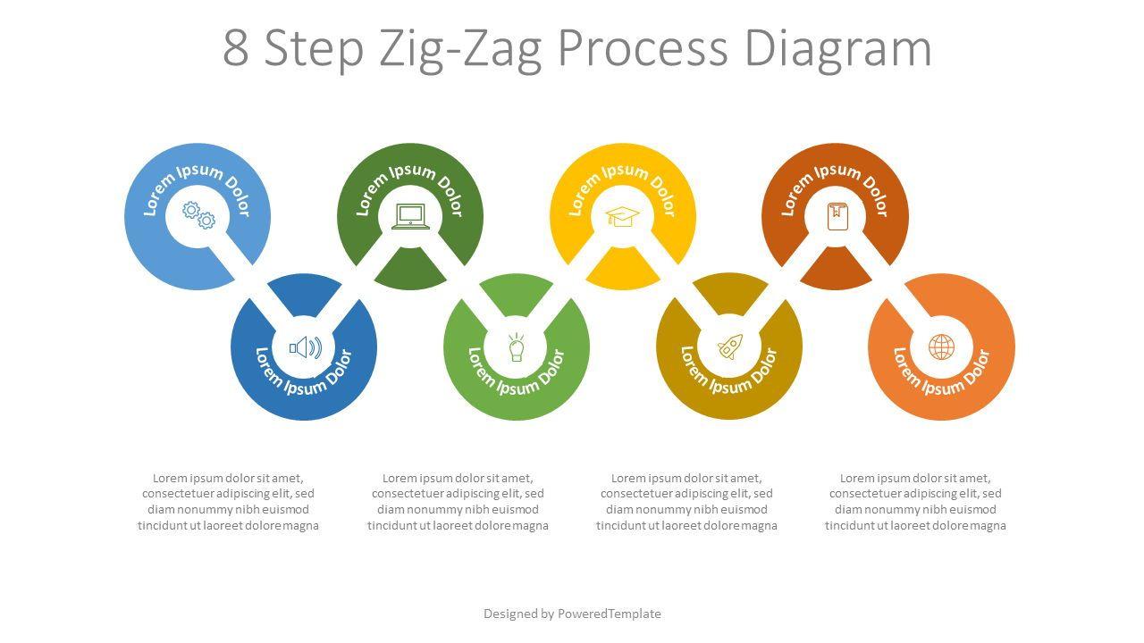 8 Step Zigzag Process Diagram, 07927, Timelines & Calendars — PoweredTemplate.com