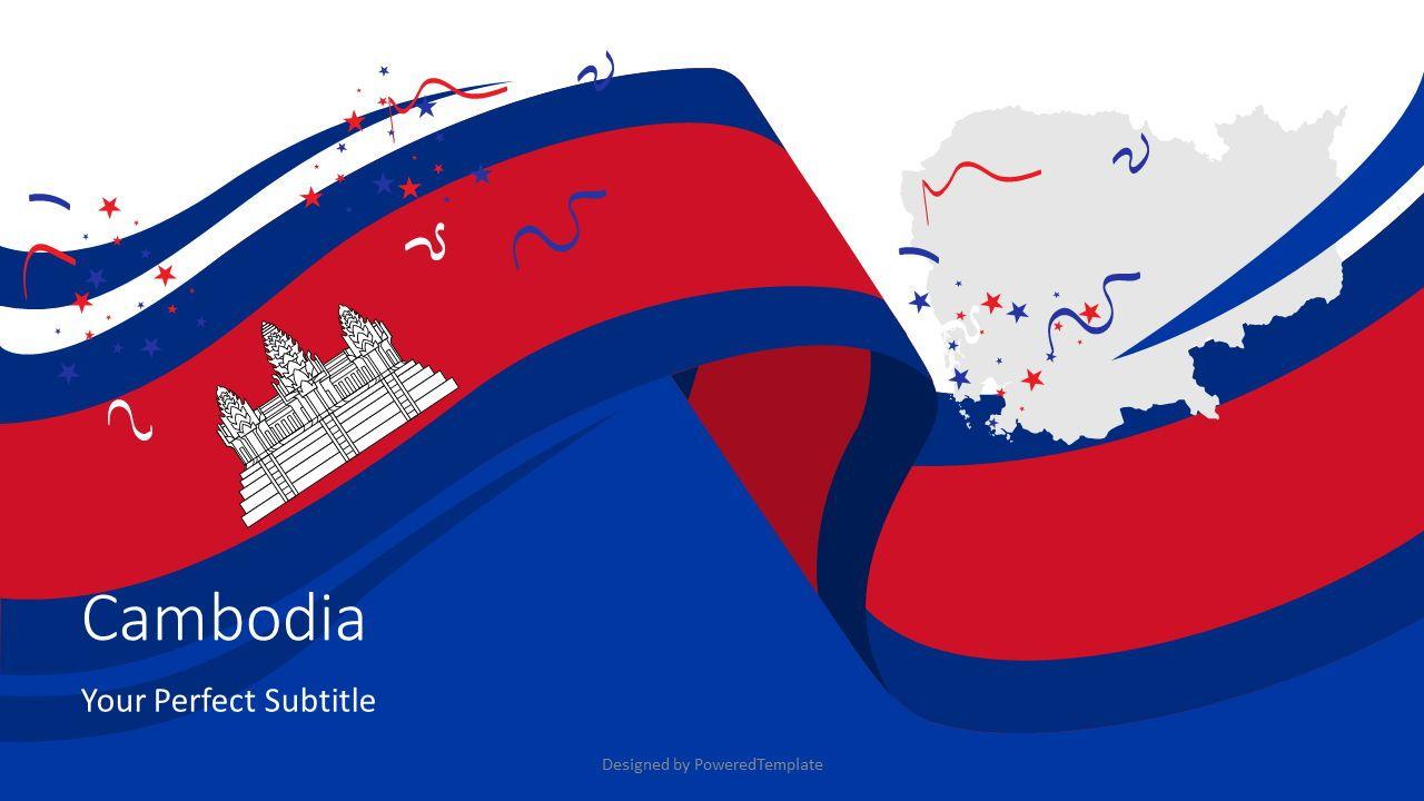 Festive Flag of Cambodia Cover Slide, 07931, Presentation Templates — PoweredTemplate.com