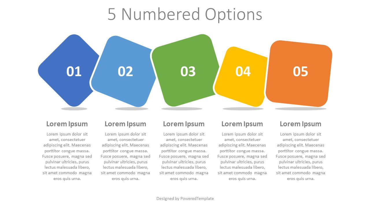 5 Colored Numbered Options, 07938, Infographics — PoweredTemplate.com