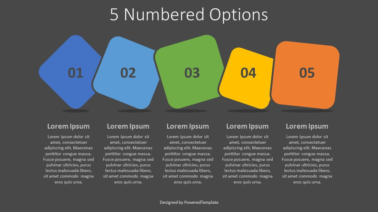 5 Colored Numbered Options, Slide 2, 07938, Infographics — PoweredTemplate.com
