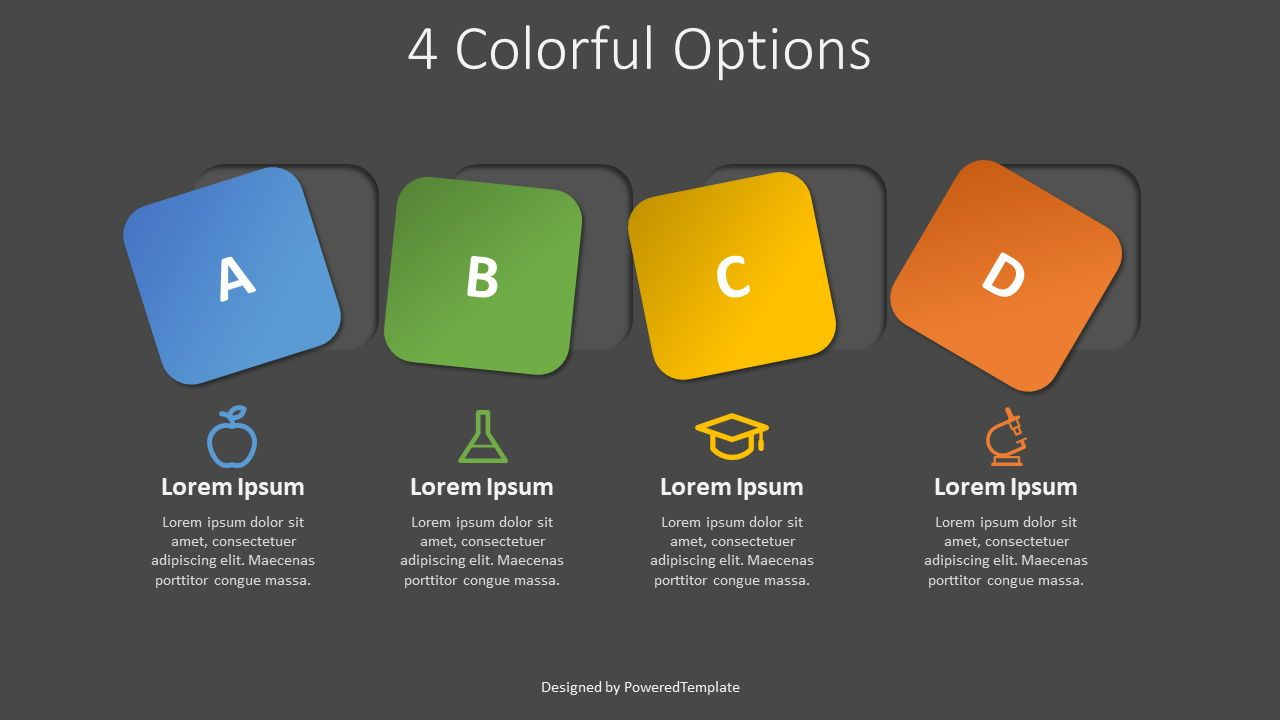 4 Colorful Squares as Options, 07939, Infographics — PoweredTemplate.com