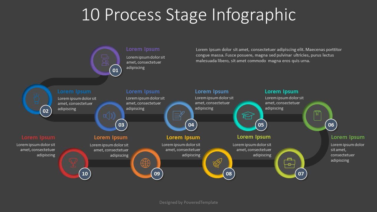 10 Process Stage Diagram, Slide 2, 07965, Process Diagrams — PoweredTemplate.com