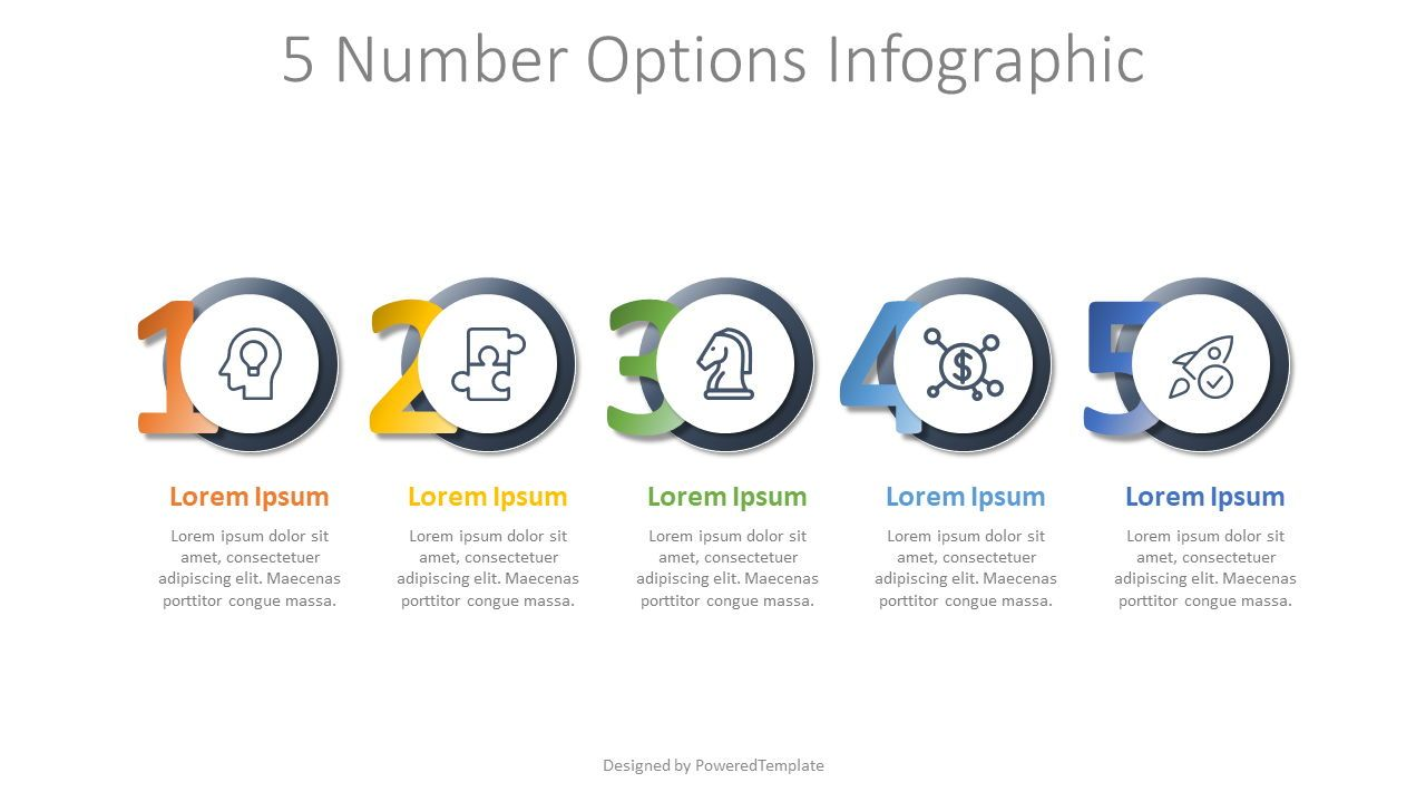 5 Number Options Infographic, 07974, Stage Diagrams — PoweredTemplate.com