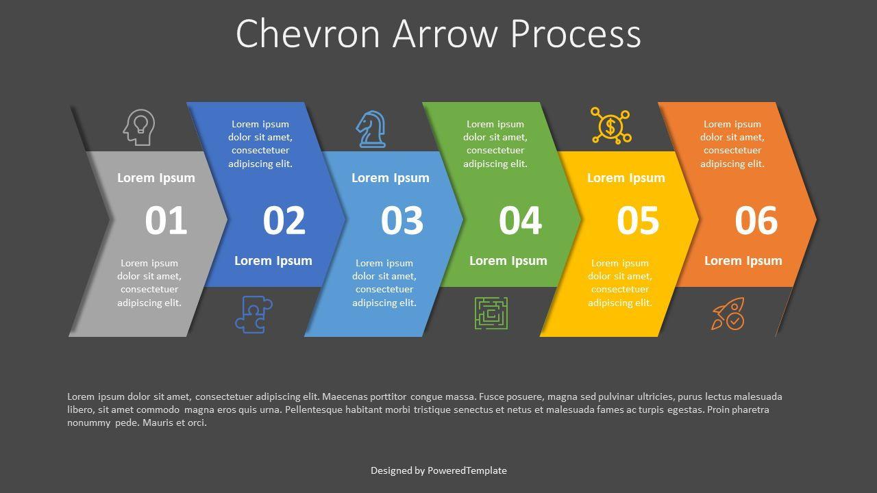 Chevron Arrow Process Diagram, 07977, Process Diagrams — PoweredTemplate.com