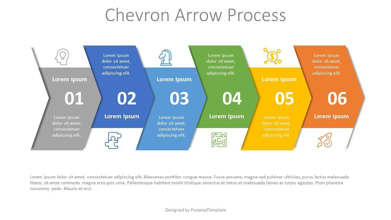 Chevron Arrow Process Diagram, Slide 2, 07977, Process Diagrams — PoweredTemplate.com