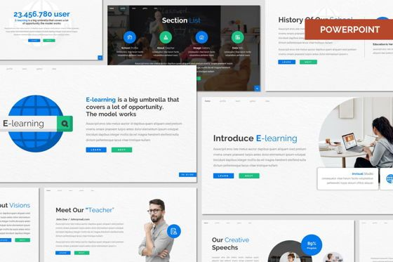Presentation Templates: E Learning - Powerpoint Template #08015