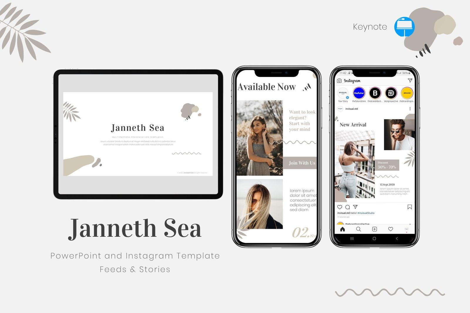 Janneth Sea - Keynote Template, 08021, Presentation Templates — PoweredTemplate.com