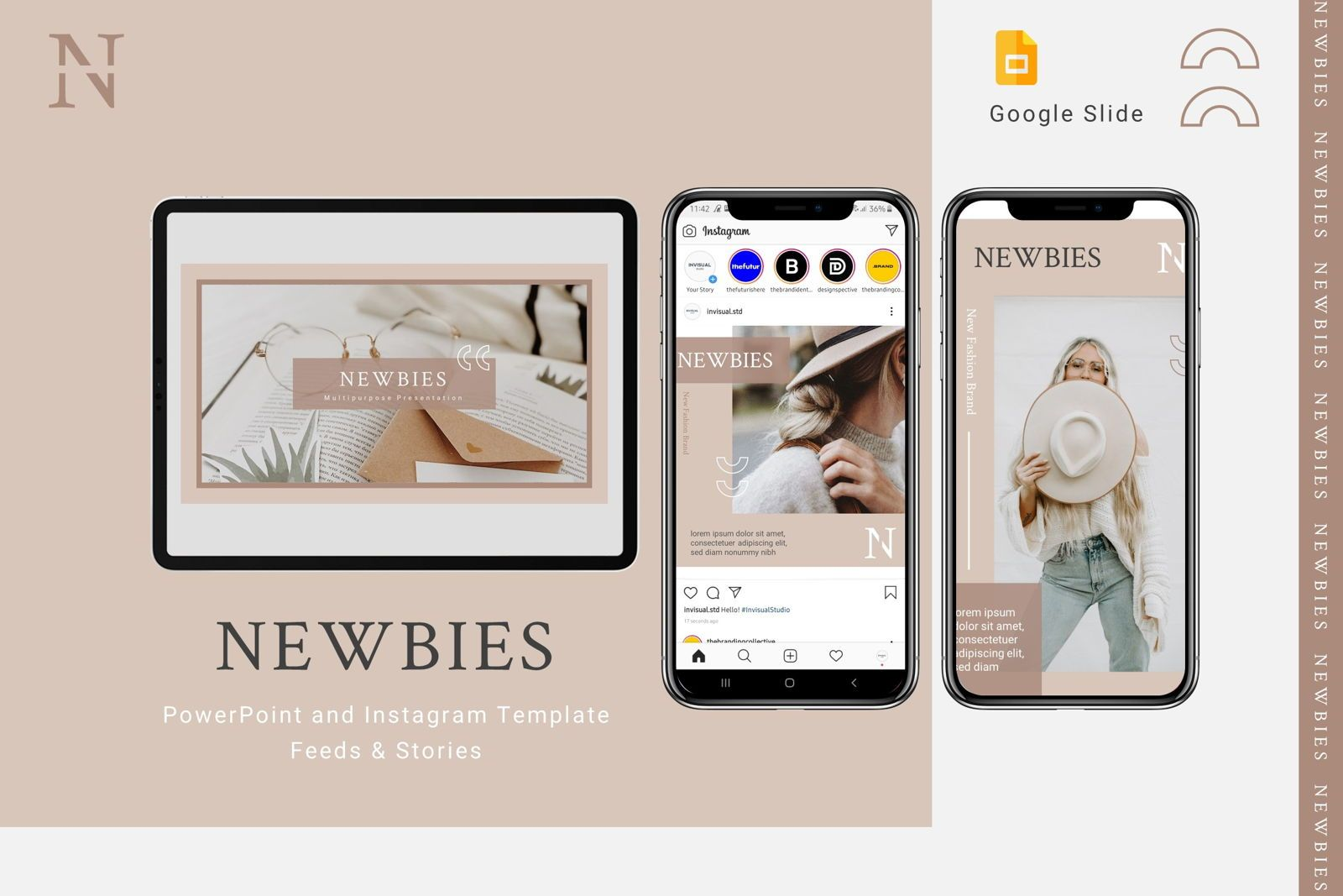 Newbies - Google Slides Template, 08027, Presentation Templates — PoweredTemplate.com