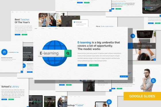 Presentation Templates: E Learning - Google Slides Template #08029