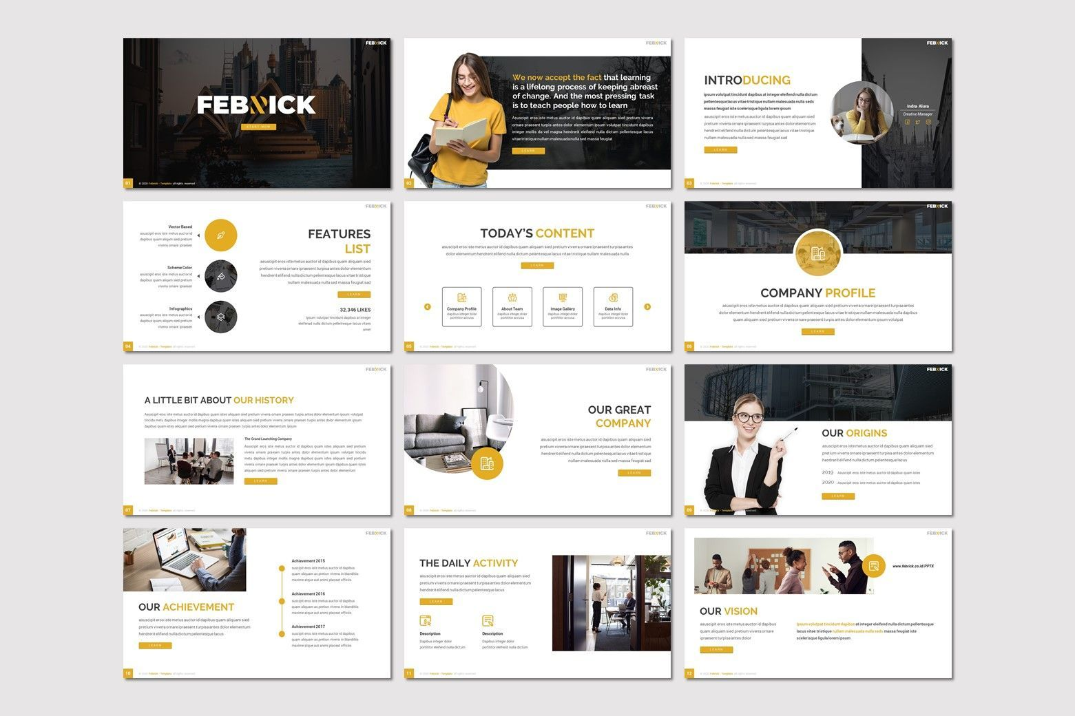 Febrick - Powerpoint Template, Slide 2, 08031, Presentation Templates — PoweredTemplate.com