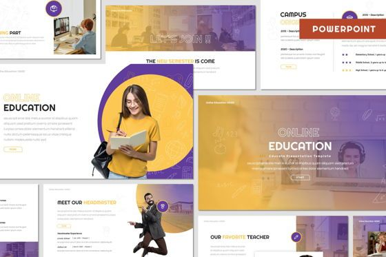 Presentation Templates: Online Education - Powerpoint Template #08034