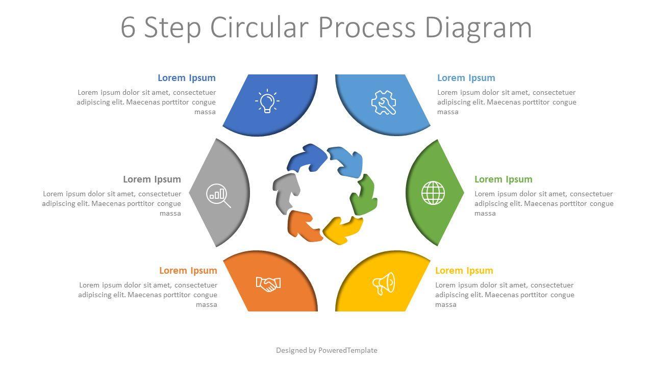 6 Step Circular Process Diagram, 08035, Process Diagrams — PoweredTemplate.com