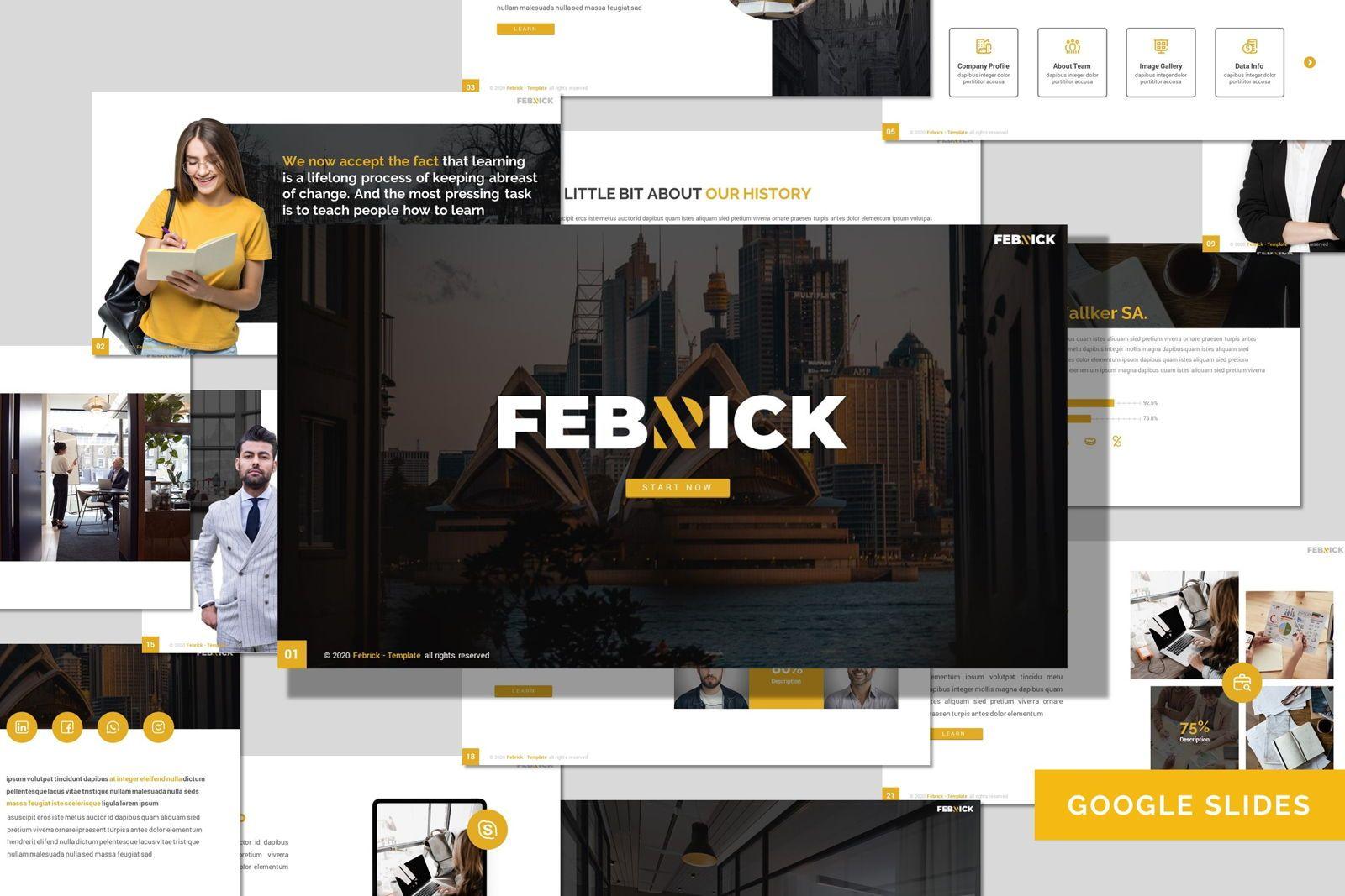 Febrick - Google Slides Template, 08042, Presentation Templates — PoweredTemplate.com