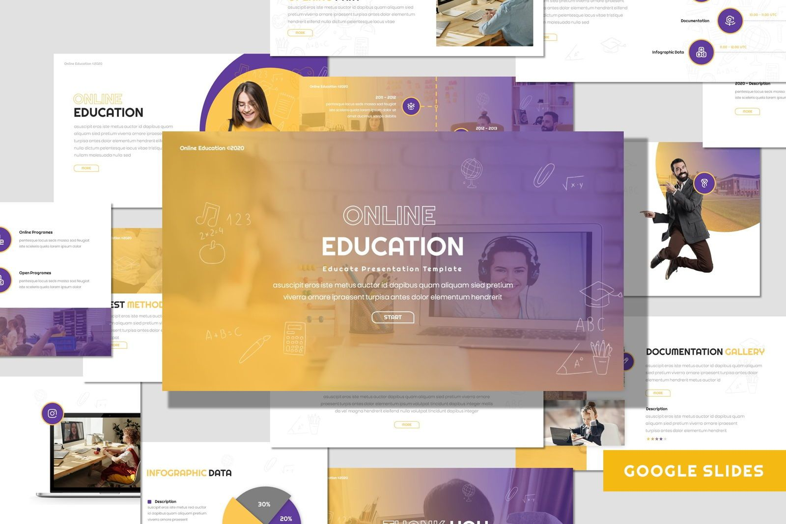 Online Education - Google Slides Template, 08047, Presentation Templates — PoweredTemplate.com