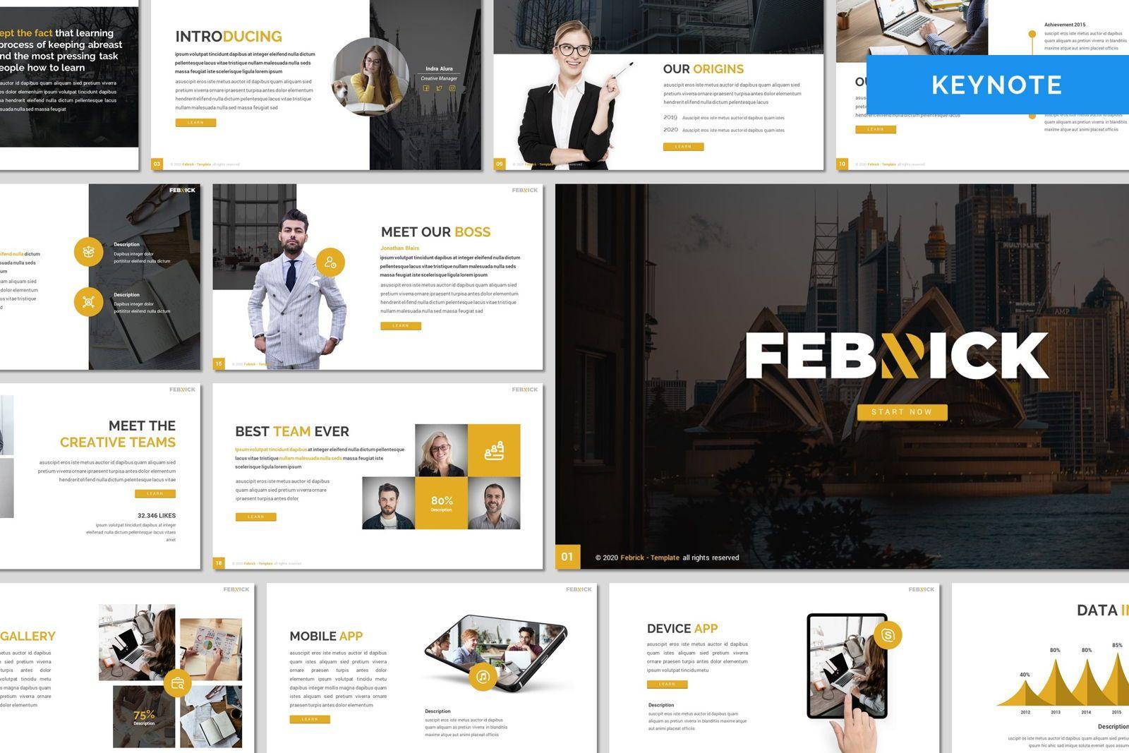 Febrick - Keynote Template, 08053, Presentation Templates — PoweredTemplate.com