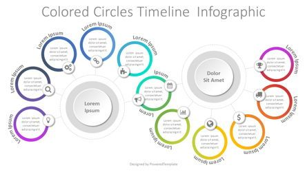 Process Diagrams: Colored Circles Timeline Infographic #08054