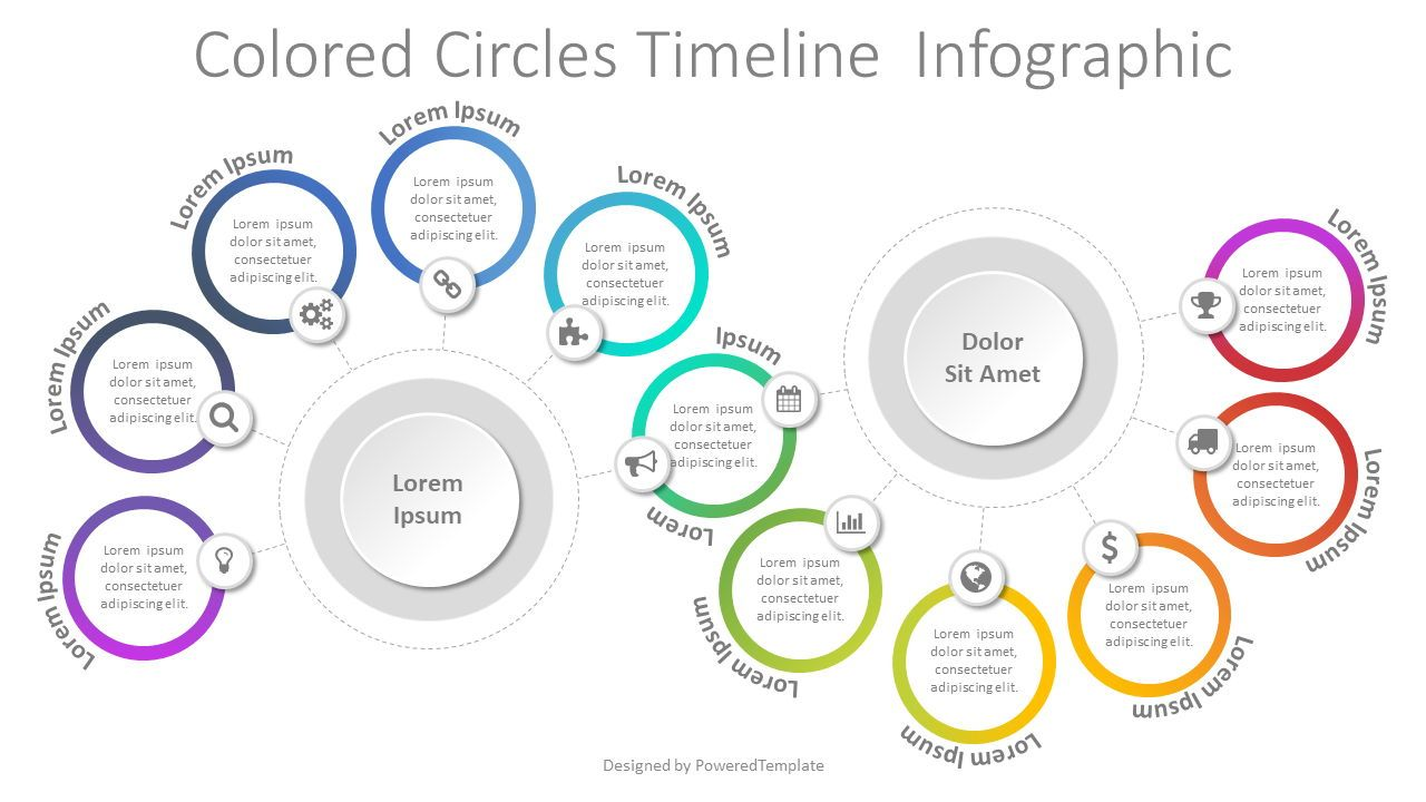 Colored Circles Timeline Infographic, 08054, Process Diagrams — PoweredTemplate.com
