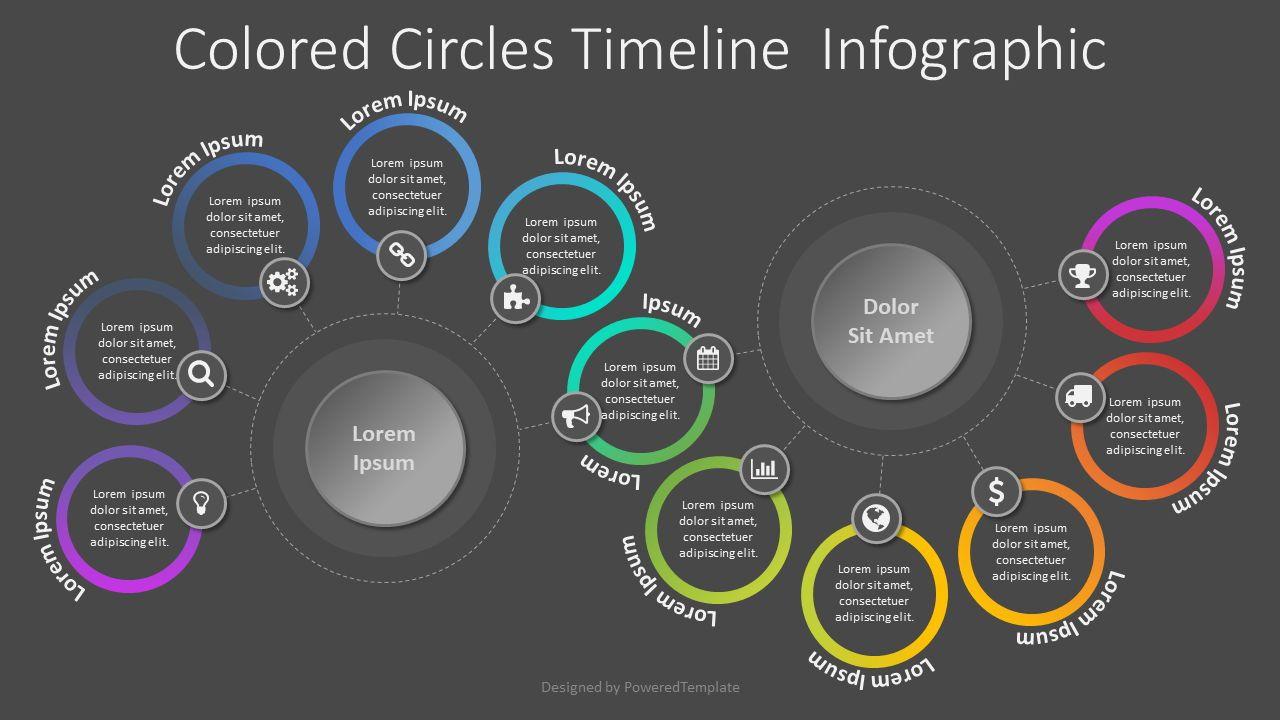 Colored Circles Timeline Infographic, Slide 2, 08054, Process Diagrams — PoweredTemplate.com