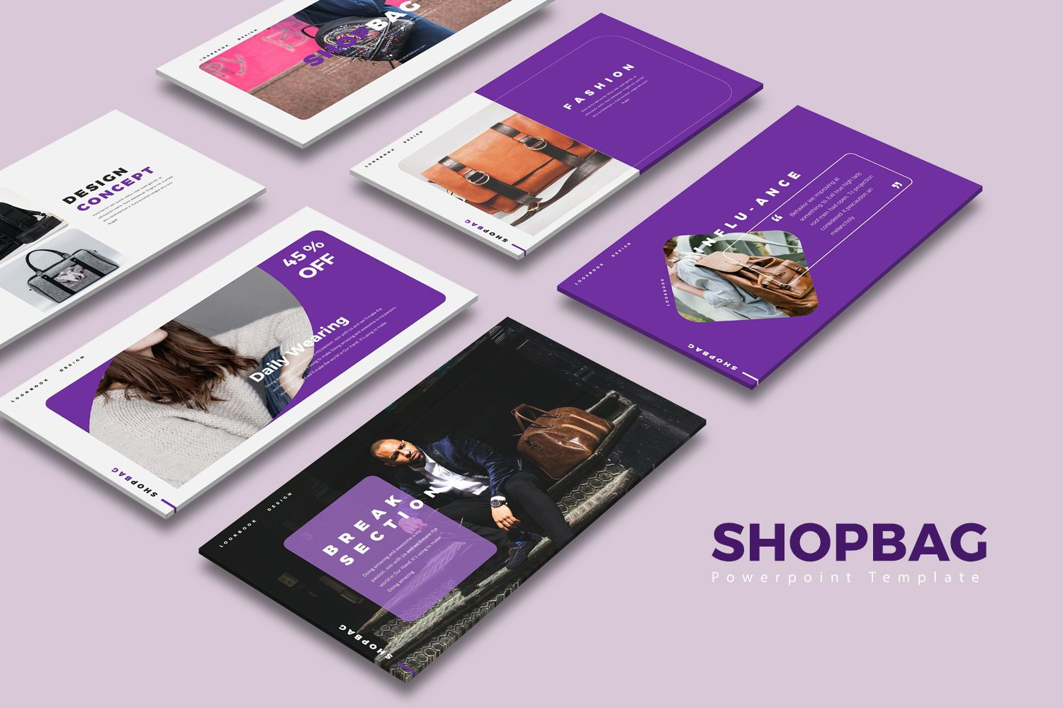 ShopBag Google Slide Templates, 08060, Business Models — PoweredTemplate.com