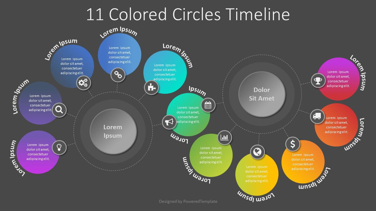 11 Colored Circles Timeline, 08061, Process Diagrams — PoweredTemplate.com