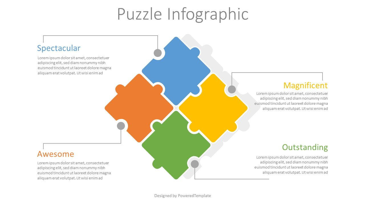 4 Puzzle Pieces Infographic, 08062, Infographics — PoweredTemplate.com