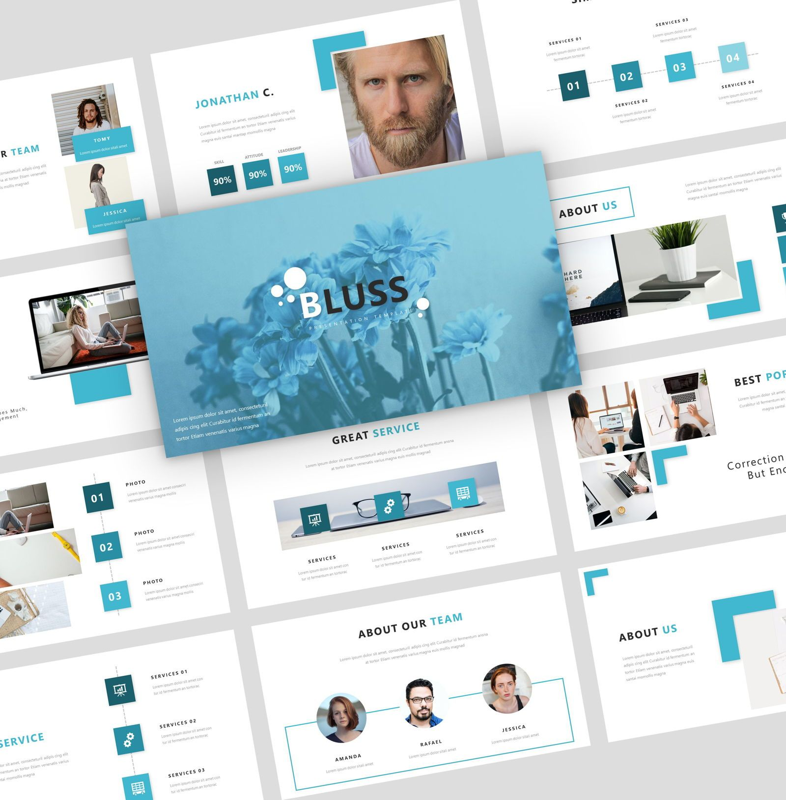 Bluss - PowerPoint Presentation Template, 08069, Presentation Templates — PoweredTemplate.com