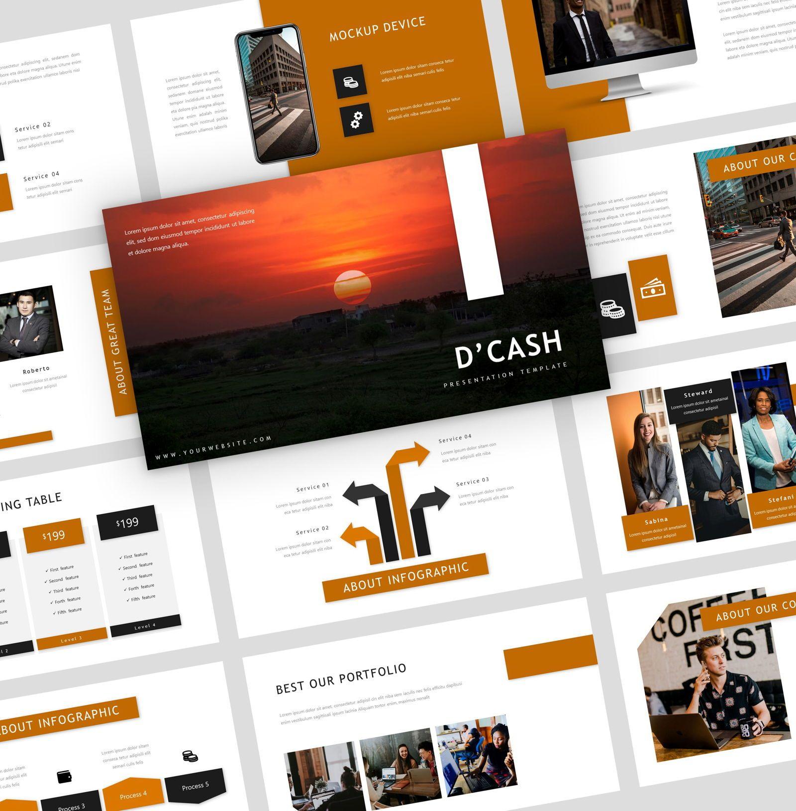 D'cash - Google Slide Presentation Template, 08075, Presentation Templates — PoweredTemplate.com