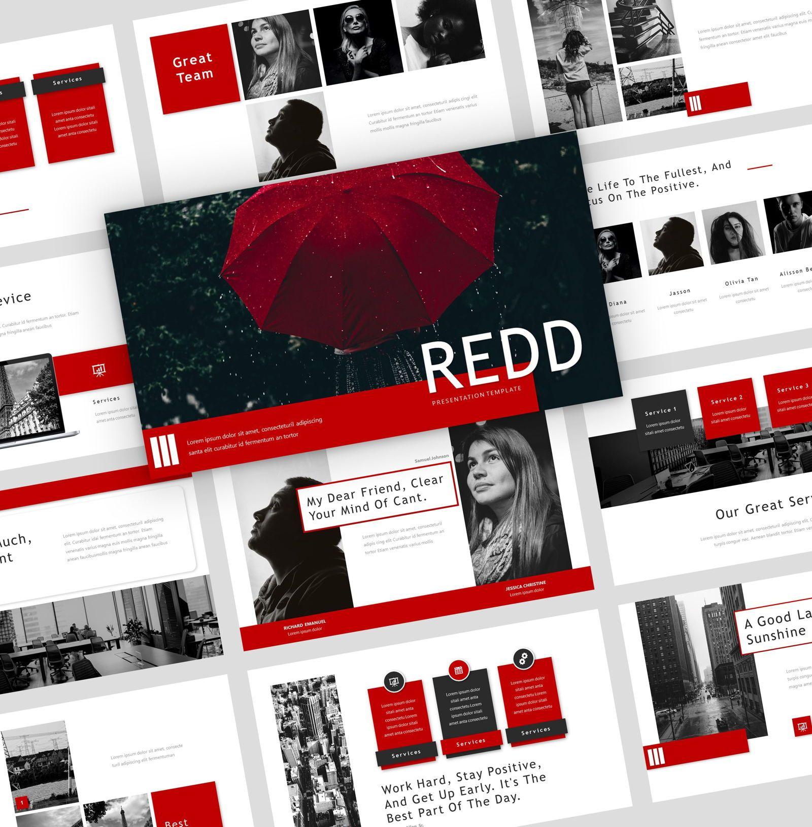 Redd - PowerPoint Presentation Template, 08078, Presentation Templates — PoweredTemplate.com
