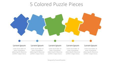 Puzzle Diagrams: 5 Colored Puzzle Pieces #08087
