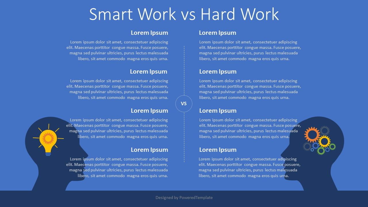 Smart Work vs Hard Work, 08089, Infographics — PoweredTemplate.com
