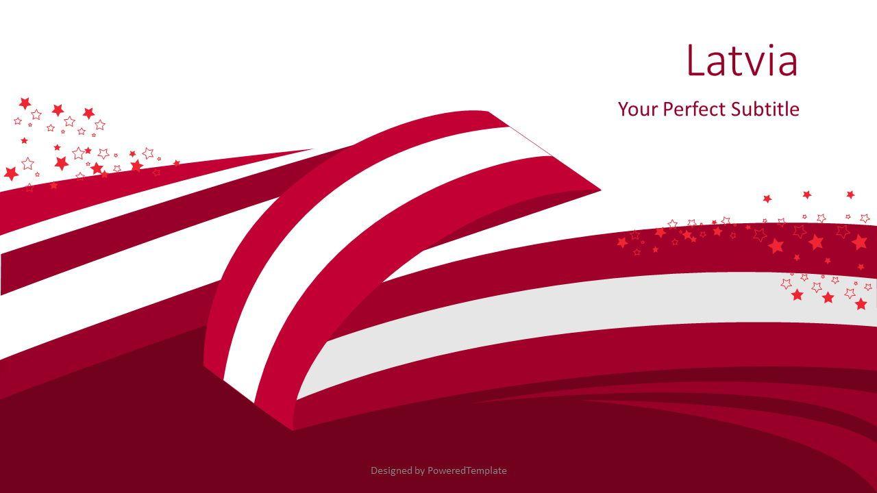 Latvia Festive State Flag, 08091, Presentation Templates — PoweredTemplate.com