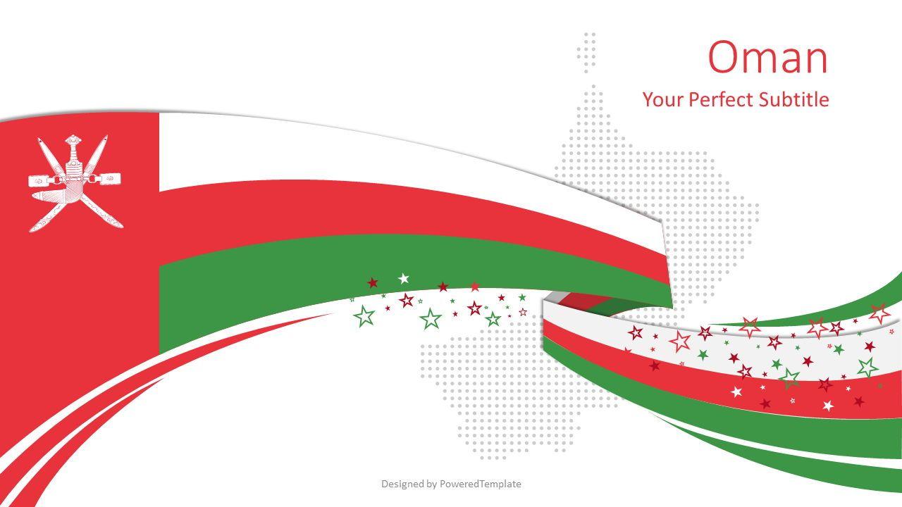 Oman Festive Flag Cover Slide, 08096, Presentation Templates — PoweredTemplate.com