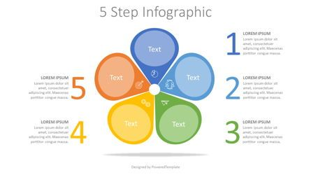 Infographics: 5 Colored Petal Like Step Infographic #08099