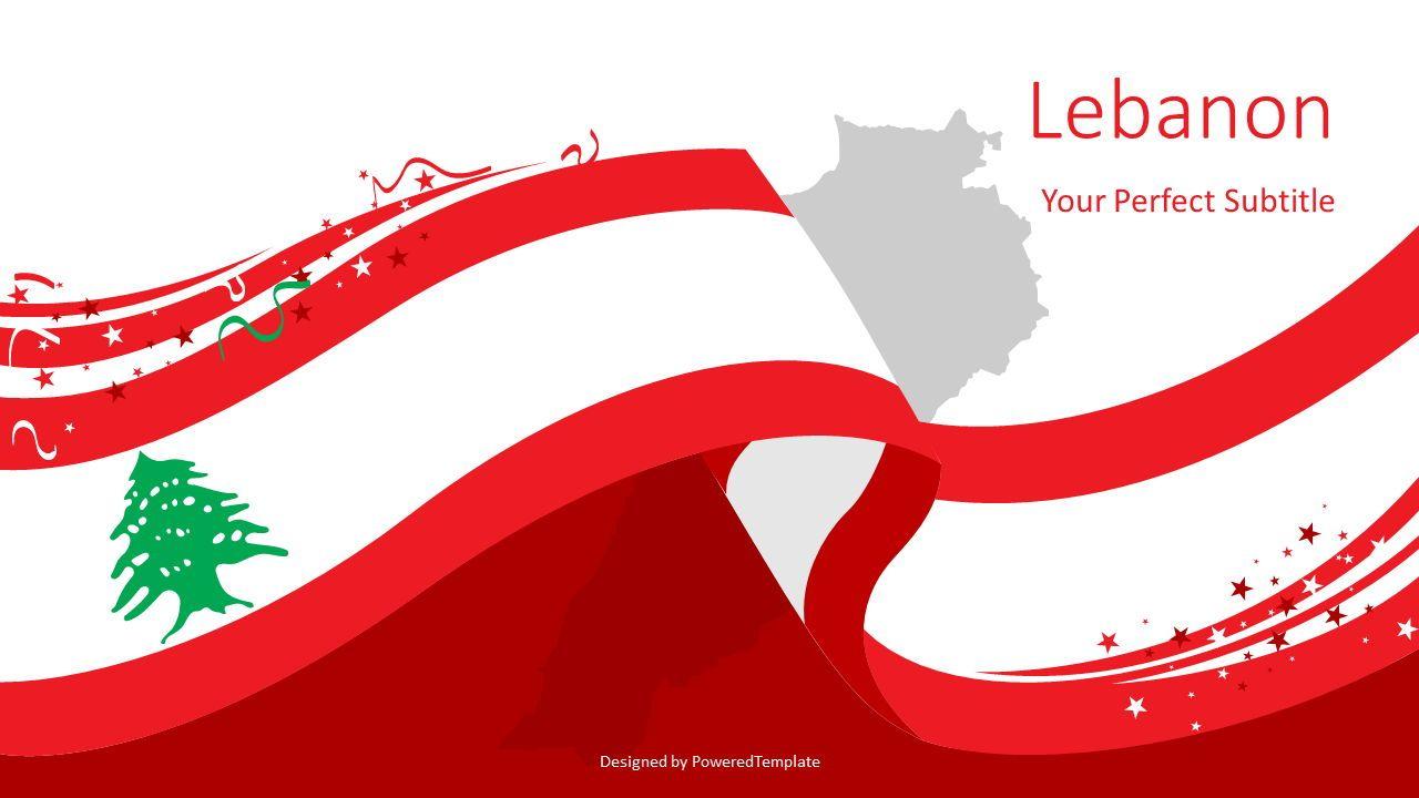 Lebanon Festive State Flag, 08104, Presentation Templates — PoweredTemplate.com