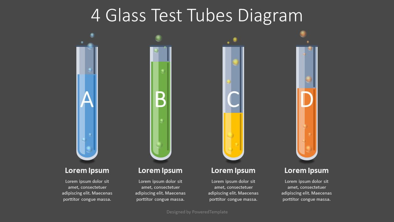 4 Glass Test Tubes Diagram, 08105, Education Charts and Diagrams — PoweredTemplate.com