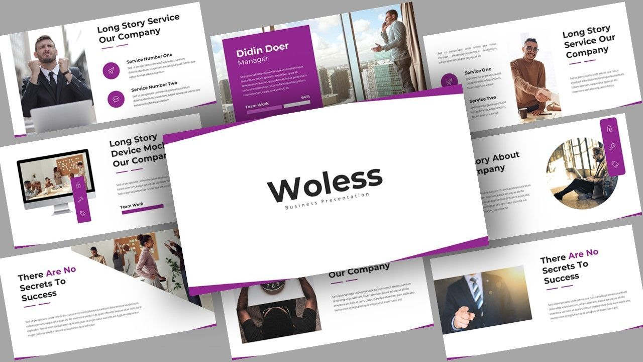 Woless Business Google Slides Template, 08109, Business Models — PoweredTemplate.com