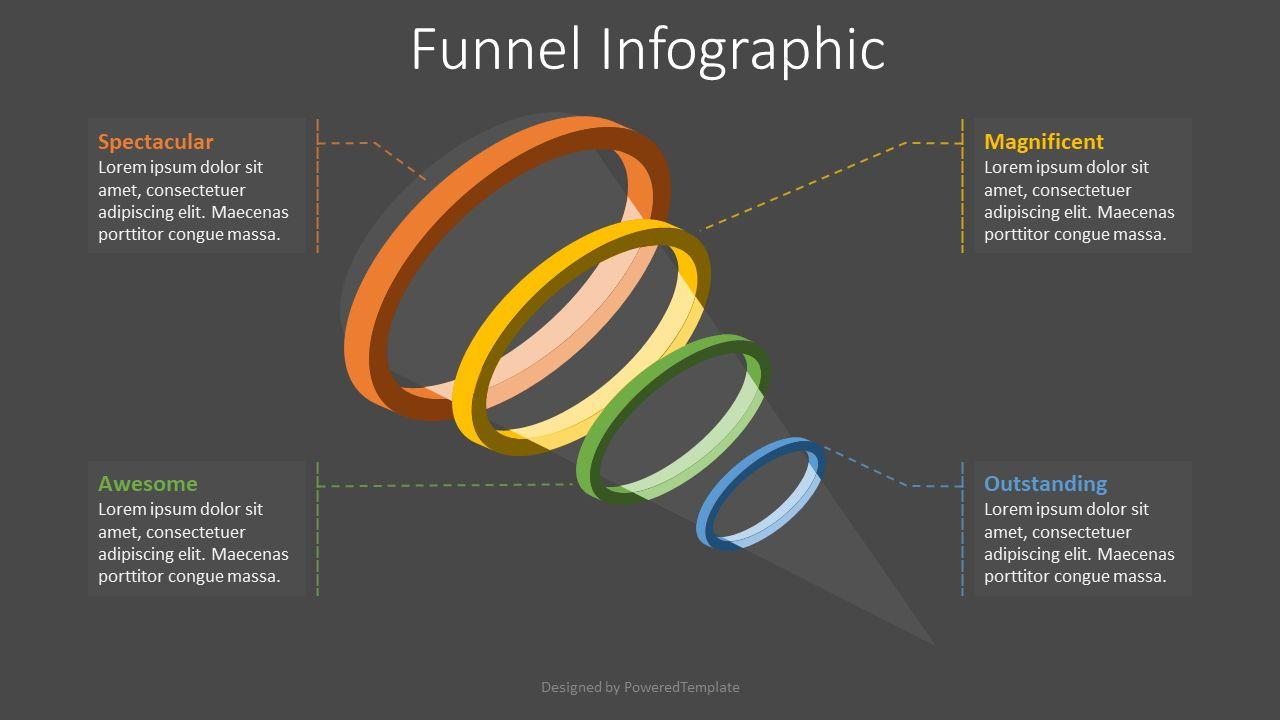4 Level Funnel Diagram, 08119, Infographics — PoweredTemplate.com