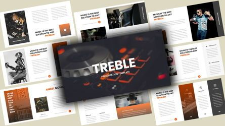 Business Models: Treble Music PowerPoint Template #08135