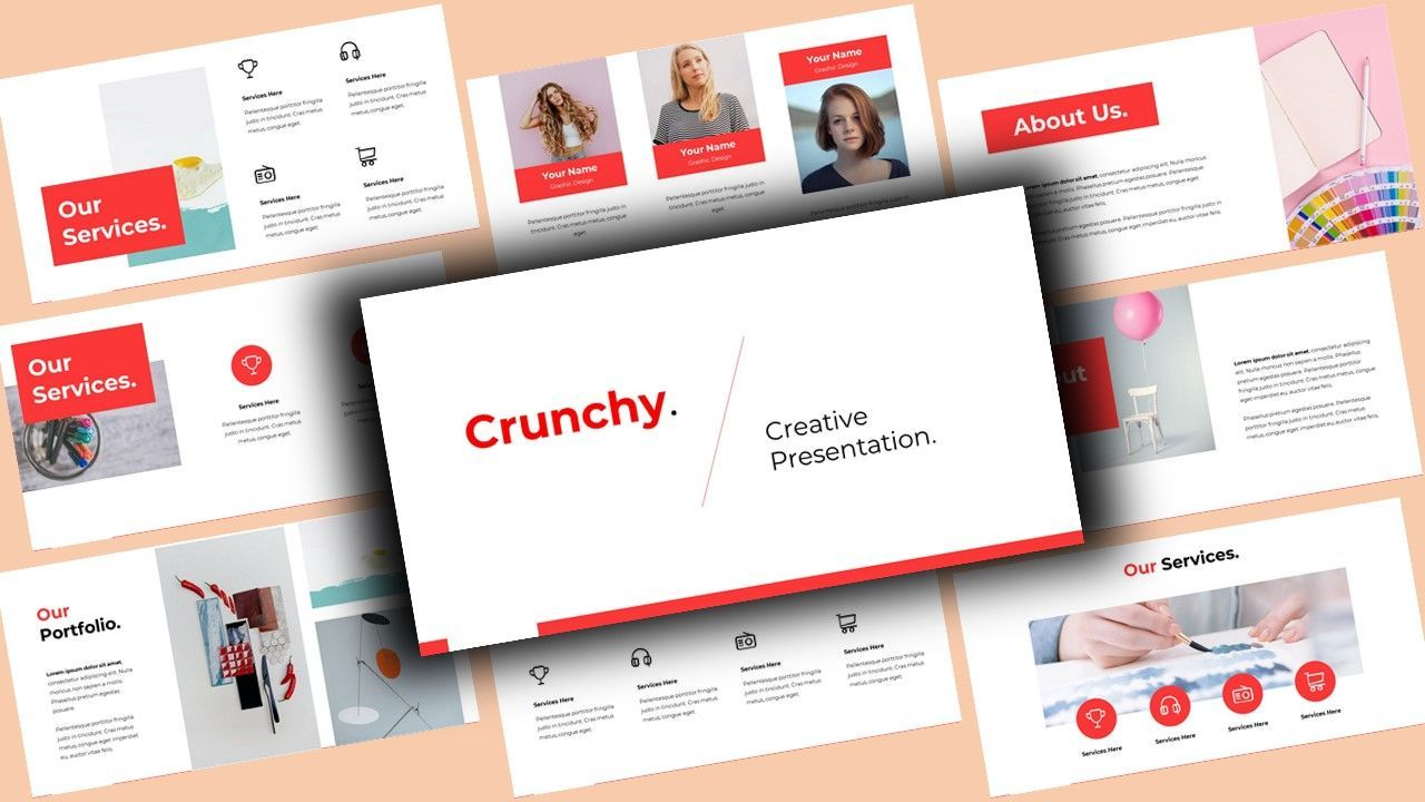 Crunchy Creative PowerPoint Template, 08141, Business Models — PoweredTemplate.com