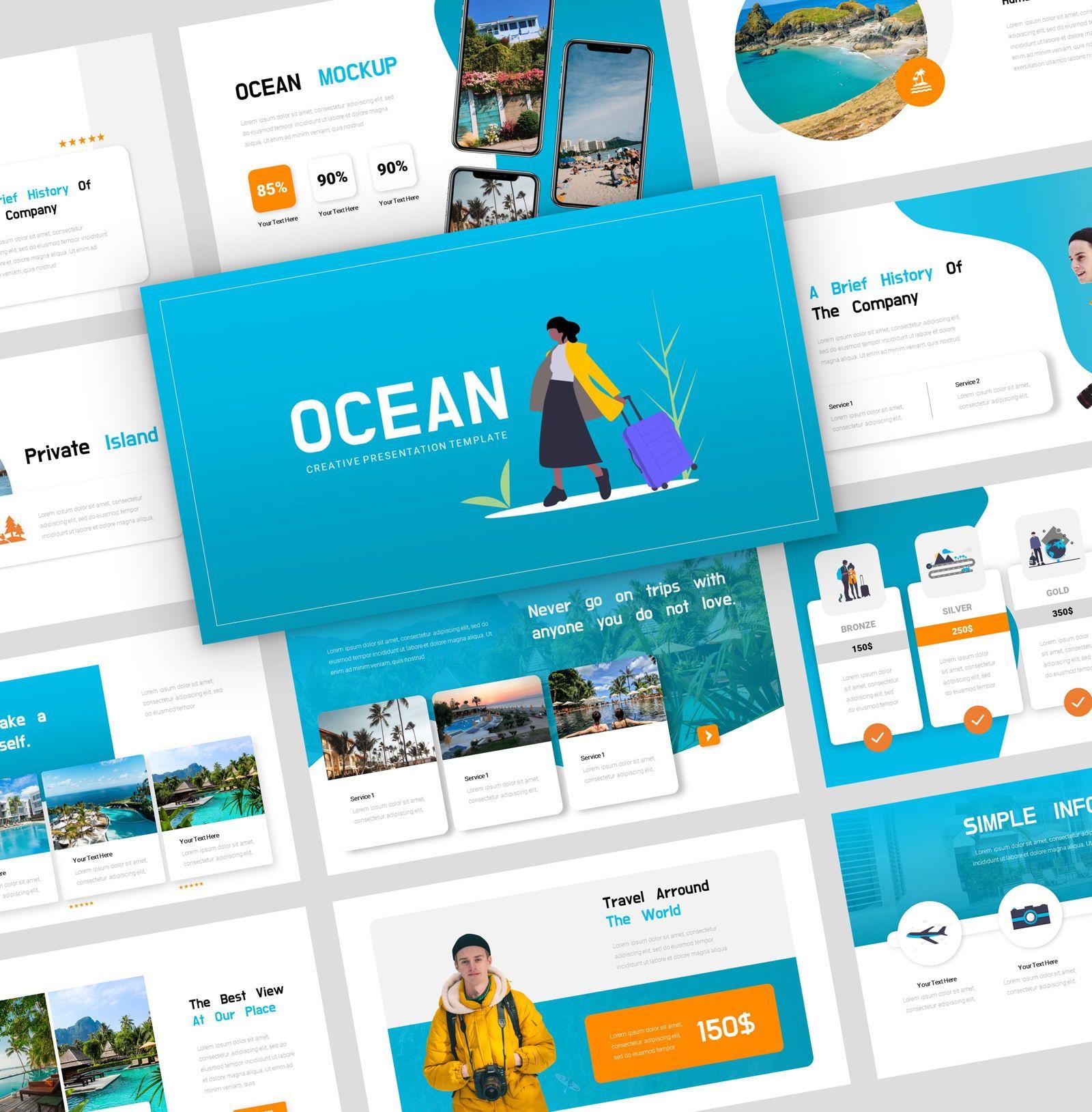 Ocean - PowerPoint Presentation Template, 08166, Presentation Templates — PoweredTemplate.com