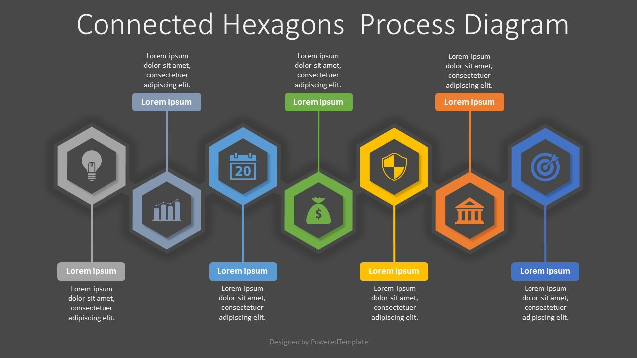 7 Connected Hexagons Process Diagram, 08181, Infographics — PoweredTemplate.com