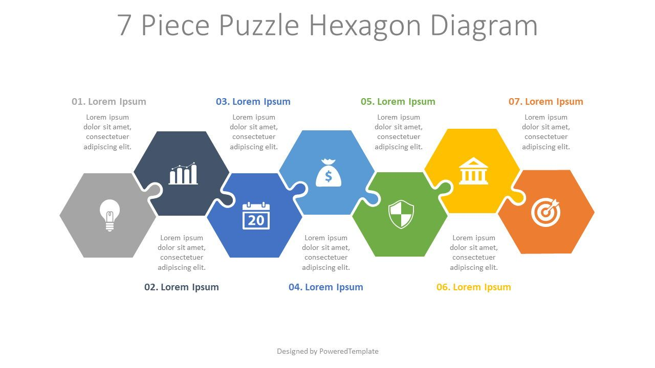 7 Piece Puzzle Hexagon Diagram, 08188, Puzzle Diagrams — PoweredTemplate.com
