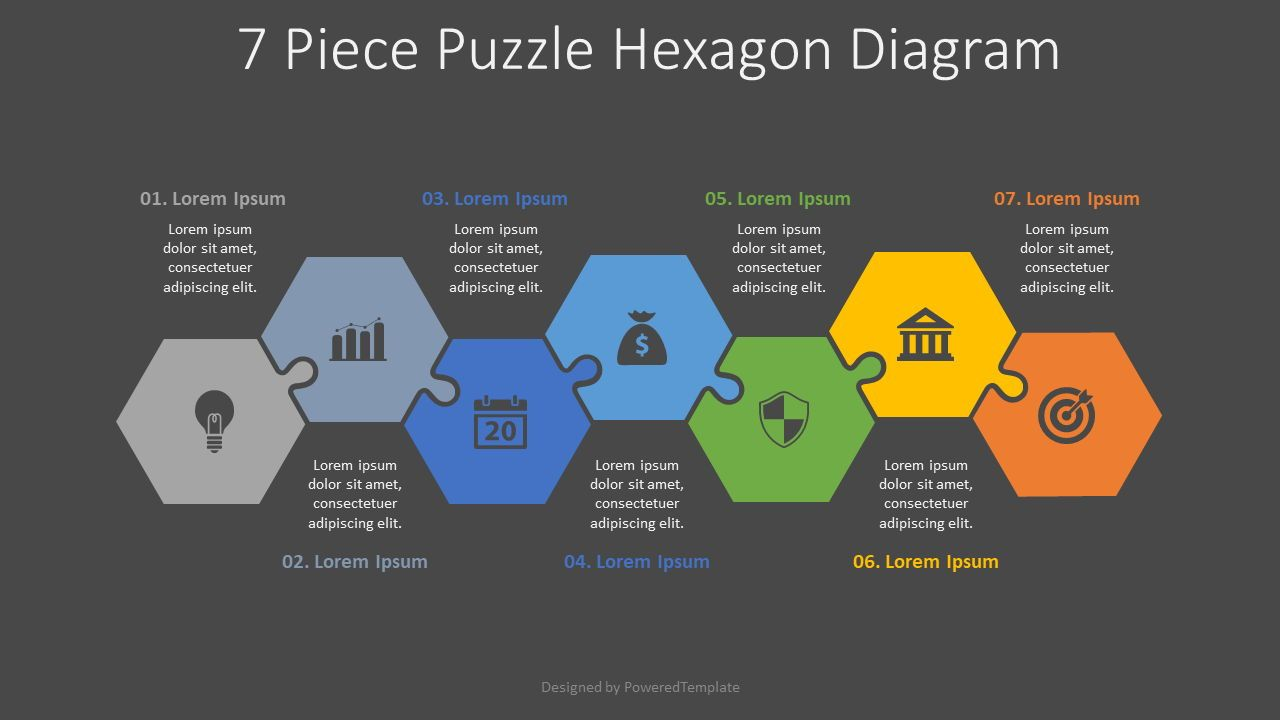 7 Piece Puzzle Hexagon Diagram, Slide 2, 08188, Puzzle Diagrams — PoweredTemplate.com
