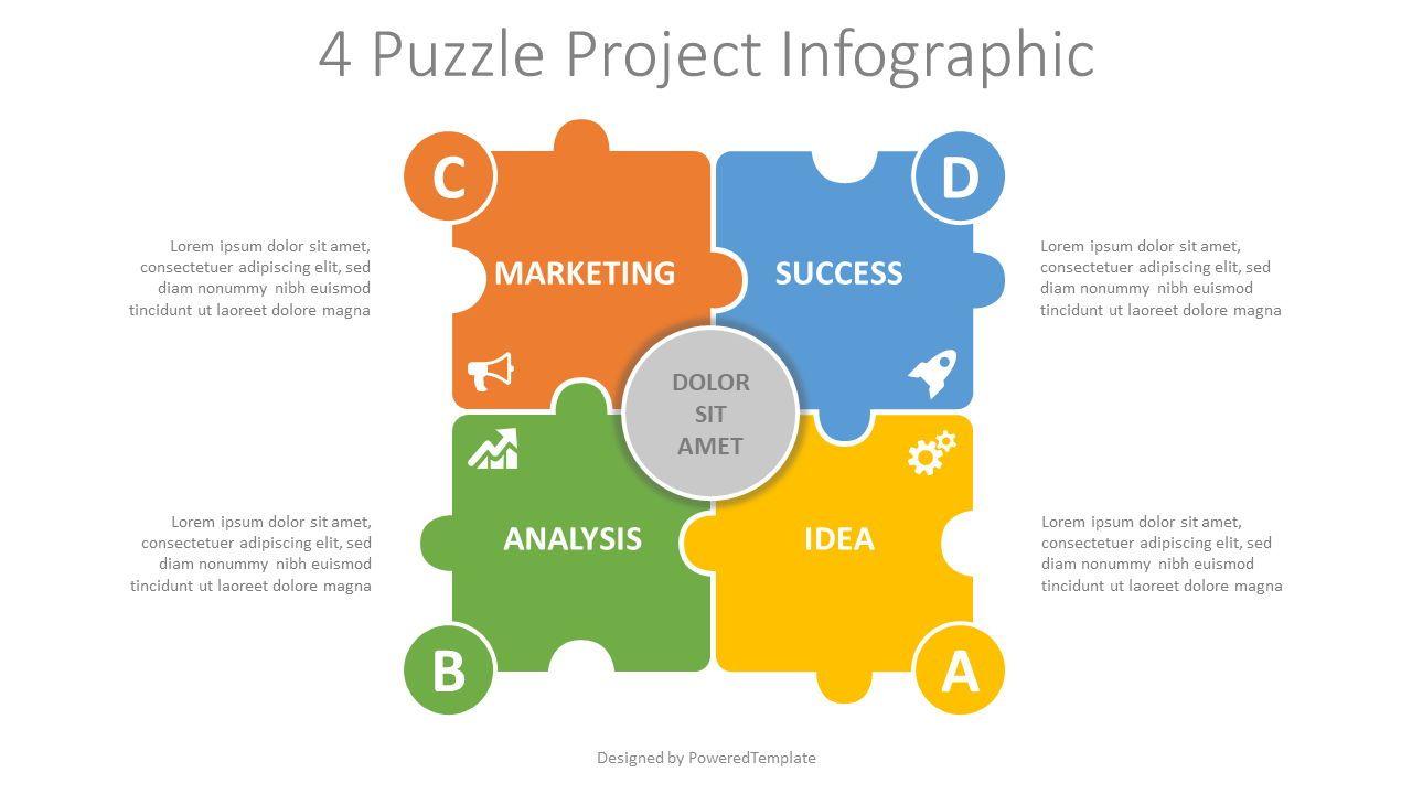 4 Puzzle Project Infographic, 08195, Infographics — PoweredTemplate.com