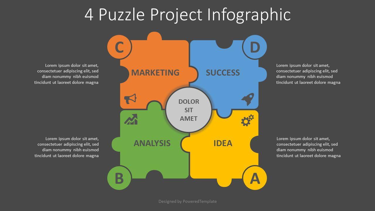 4 Puzzle Project Infographic, Slide 2, 08195, Infographics — PoweredTemplate.com